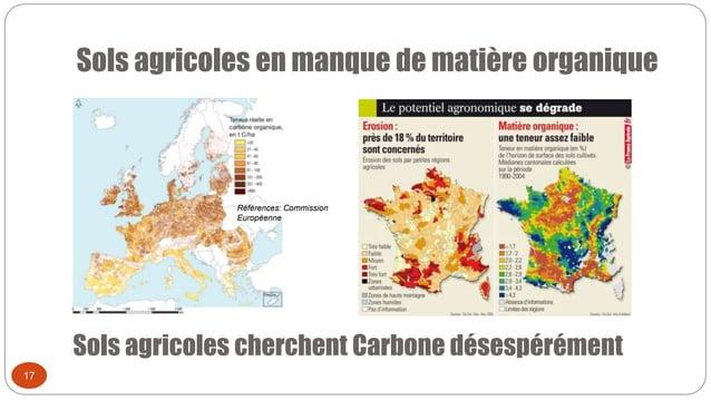 Sols agricoles en manque de matière organique 17 Sols agricoles cherchent Carbone désespérément Références: Commission Eur...