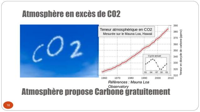 Atmosphère en excès de CO2 18 Atmosphère propose Carbone gratuitement Références : Mauna Loa Observatory