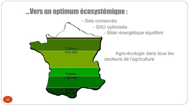 …Vers un optimum écosystémique : - Sols conservés - SAU optimisée - Bilan énergétique équilibré Agro-écologie dans tous le...