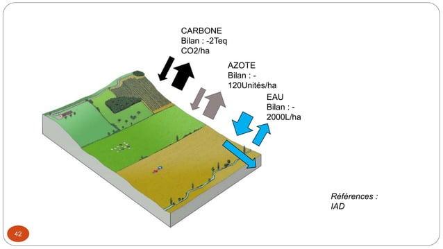 42 CARBONE Bilan : -2Teq CO2/ha AZOTE Bilan : - 120Unités/ha EAU Bilan : - 2000L/ha Références : IAD