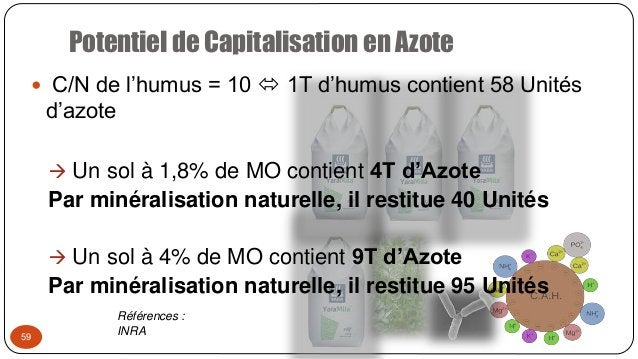 Potentiel de Capitalisation en Azote 59  C/N de l'humus = 10  1T d'humus contient 58 Unités d'azote  Un sol à 1,8% de M...