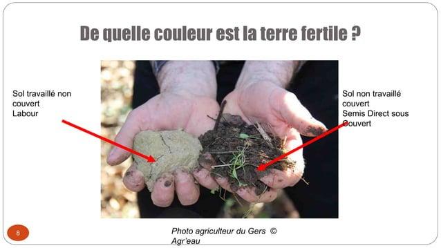 De quelle couleur est la terre fertile ? 8 Sol travaillé non couvert Labour Sol non travaillé couvert Semis Direct sous Co...
