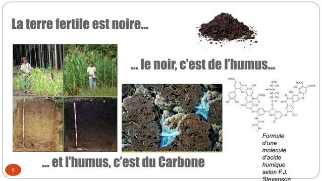 La terre fertile est noire… 9 … le noir, c'est de l'humus… … et l'humus, c'est du Carbone Formule d'une molecule d'acide h...