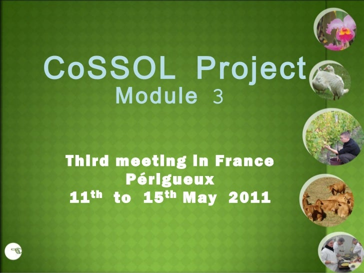 CoSSOL Project Module 3 Third meeting in France Périgueux 11 th to  15 th May  2011