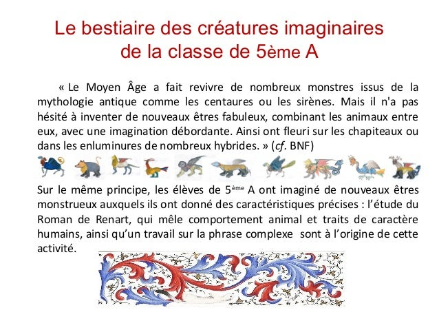 Le bestiaire des créatures imaginaires de la classe de 5ème A «Le Moyen Âge a fait revivre de nombreux monstres ...
