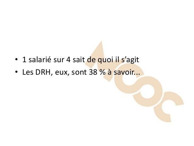 • 1 salarié sur 4 sait de quoi il s'agit • Les DRH, eux, sont 38 % à savoir...