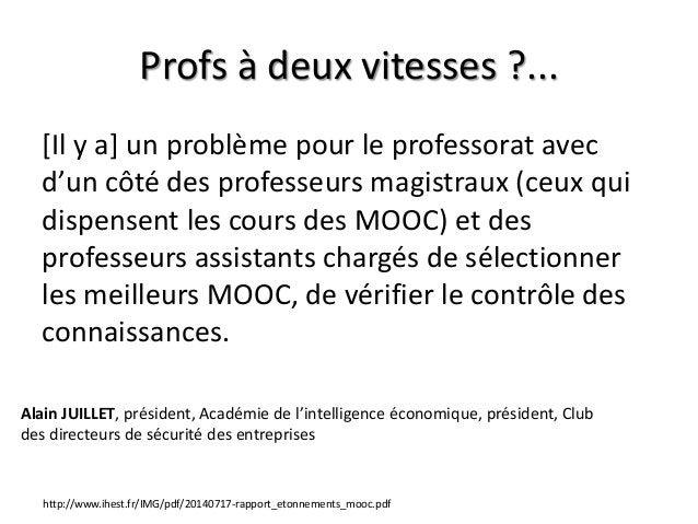 Profs à deux vitesses ?... [Il y a] un problème pour le professorat avec d'un côté des professeurs magistraux (ceux qui di...