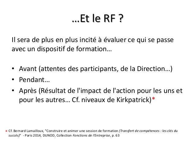 …Et le RF ? Il sera de plus en plus incité à évaluer ce qui se passe avec un dispositif de formation… • Avant (attentes de...
