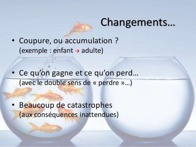Changements… • Coupure, ou accumulation ? (exemple : enfant  adulte) • Ce qu'on gagne et ce qu'on perd… (avec le double s...