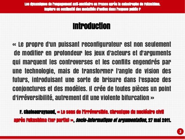 Les dynamiques de l'engagement anti-nucléaire en France après la catastrophe de Fukushima. Rupture ou continuité des modalités d'action dans l'espace public ? Slide 3