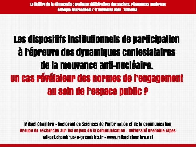 Le théâtre de la démocratie: pratiques délibératives des anciens, résonances modernes Colloque international / 17 NOVEMBR...