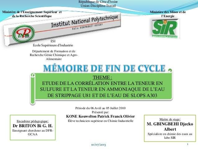 10/07/2013 1 République de Côte d'Ivoire Union-Discipline-Travail Ministère de l'Enseignement Supérieur et de la Recherche...