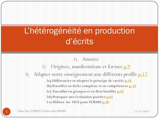 1)Amorce  2)Origines, manifestations et formes p.9  3)Adapter notre enseignement aux différents profils p.17  3a) Différen...