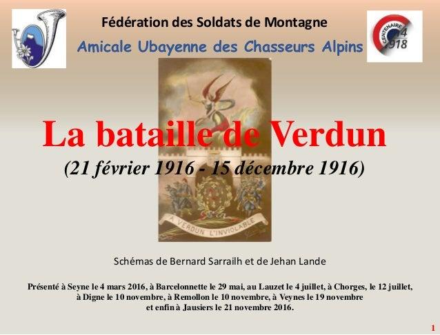 Amicale Ubayenne des Chasseurs Alpins 1 La bataille de Verdun (21 février 1916 - 15 décembre 1916) Fédération des Soldats ...