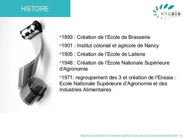 Présentation de l'ENSAIA I Ecole Nationale Supérieure d'Agronomie et des Industries Alimentaires I2016 I 10 1893 : Créati...
