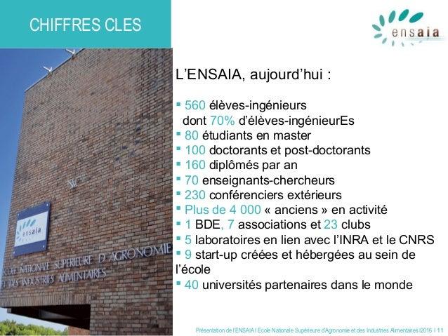 Présentation de l'ENSAIA I Ecole Nationale Supérieure d'Agronomie et des Industries Alimentaires I2016 I 11 CHIFFRES CLES ...