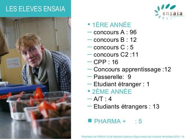 Présentation de l'ENSAIA I Ecole Nationale Supérieure d'Agronomie et des Industries Alimentaires I2016 I 14 LES ELEVES ENS...