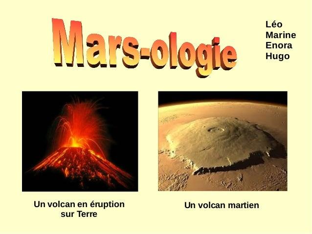 Un volcan en éruption sur Terre Un volcan martien Léo Marine Enora Hugo