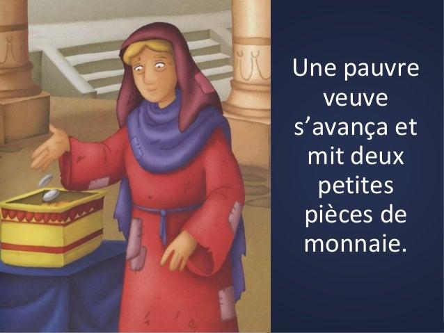 Jésus vit une veuve misérable mettre deux petites pièces de monnaie  dans Catéchèse