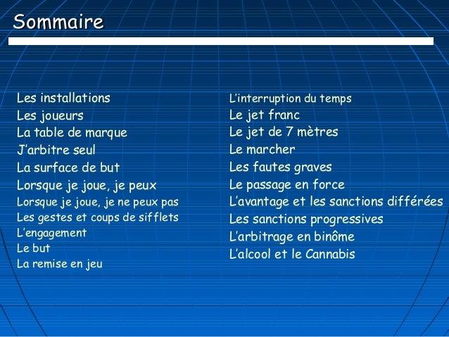 SommaireLes installations                 L'interruption du tempsLes joueurs                       Le jet francLa table de...