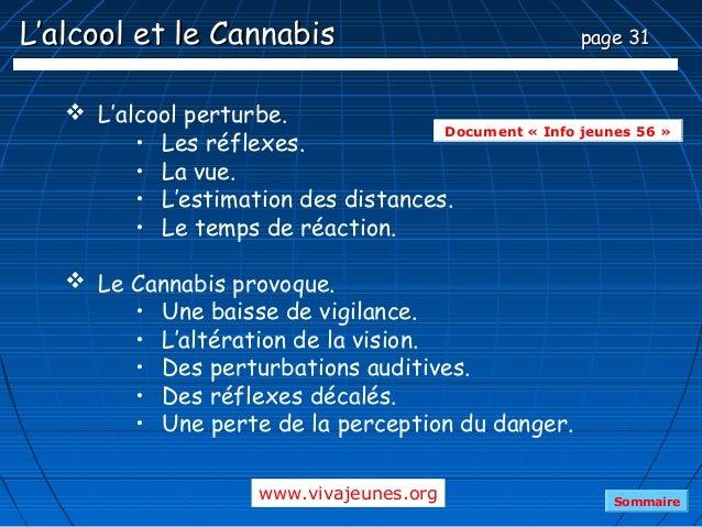 L'alcool et le Cannabis                               page 31    L'alcool perturbe.                                     D...