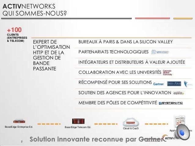 ACTIVNETWORKS QUI SOMMES-NOUS? +100 CLIENTS (ENTREPRISES & TELECOM)  EXPERT DE L'OPTIMISATION HTTP ET DE LA GESTION DE BAN...