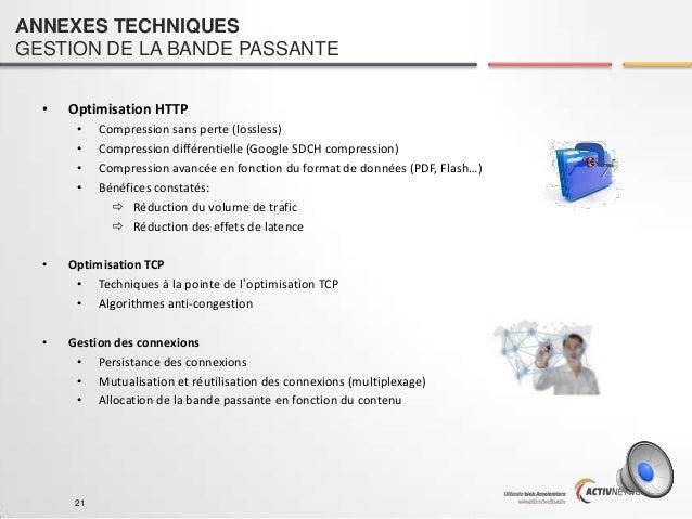 ANNEXES TECHNIQUES GESTION DE LA BANDE PASSANTE •  Optimisation HTTP • • • •  Compression sans perte (lossless) Compressio...