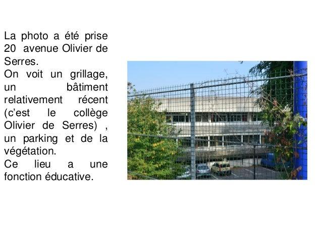 Cette photo a été prise avenue Olivier de Serres. On y voit des habitations individuelles (maisons) qui sont entourées de ...