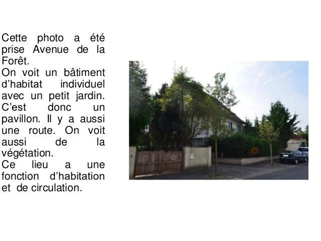 Cette photo a été prise Avenue de la Forêt. On voit un arrêt de bus, on voit aussi une route avec le symbole de la piste c...
