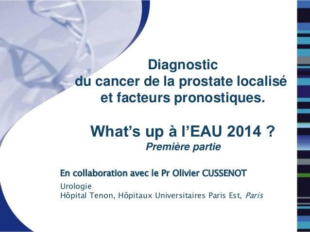 Diagnostic du cancer de la prostate localisé et facteurs pronostiques. What's up à l'EAU 2014 ? Première partie En collabo...