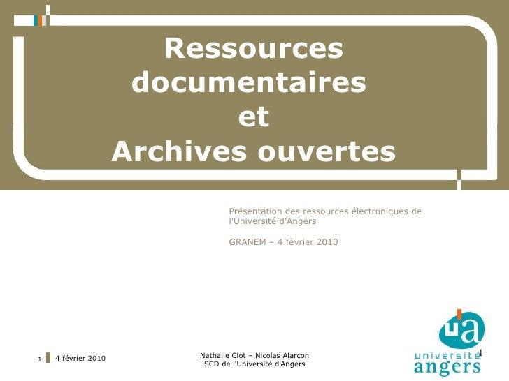 Ressources                       documentaires                             et                      Archives ouvertes      ...