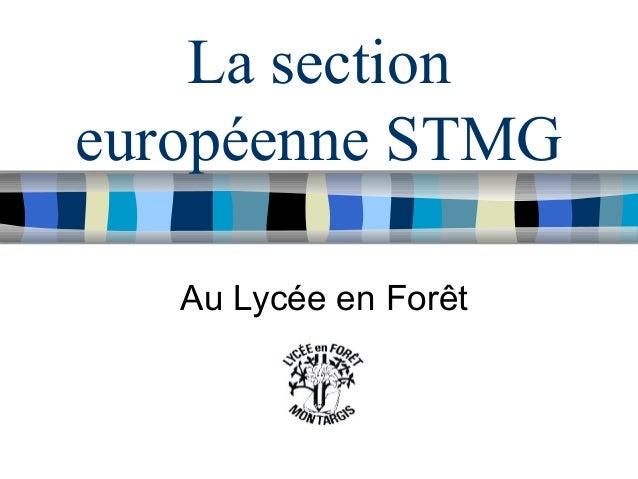 La section européenne STMG Au Lycée en Forêt