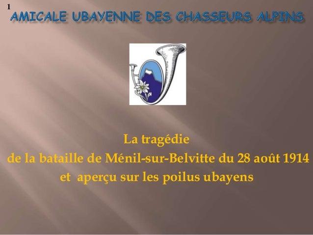 La tragédie de la bataille de Ménil-sur-Belvitte du 28 août 1914 et aperçu sur les poilus ubayens 1
