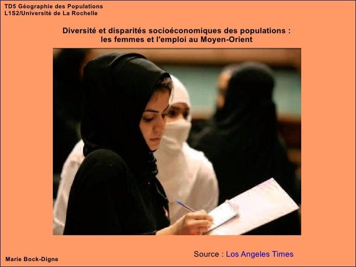 TD5 Géographie des Populations L1S2/Université de La Rochelle Diversité et disparités socioéconomiques des populations : l...