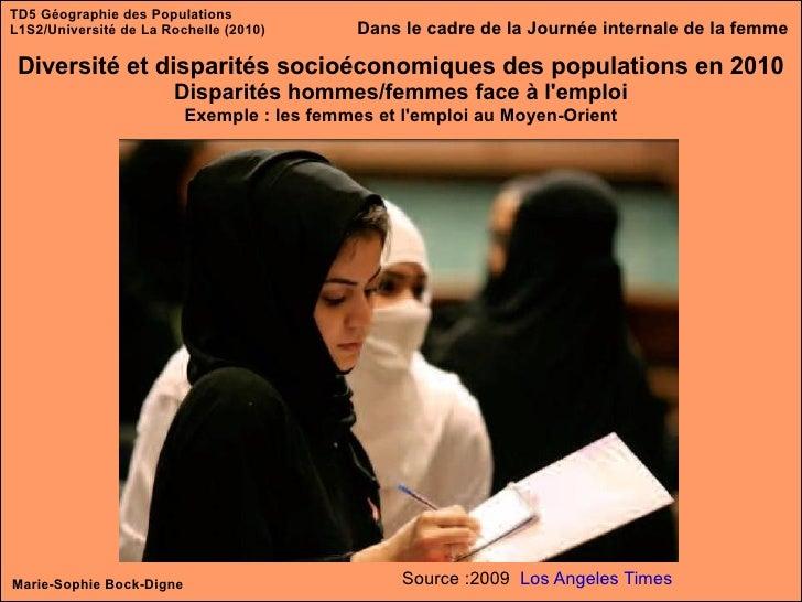 TD5 Géographie des Populations L1S2/Université de La Rochelle (2010) Diversité et disparités socioéconomiques des populati...