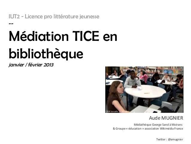 IUT2 - Licence pro littérature jeunesse--Médiation TICE enbibliothèquejanvier / février 2013                              ...