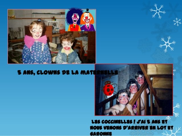 5 ans, clowns de la maternelle  Les coccinelles ! J'ai 5 ans et nous venons d'arriver en Lot et Garonne