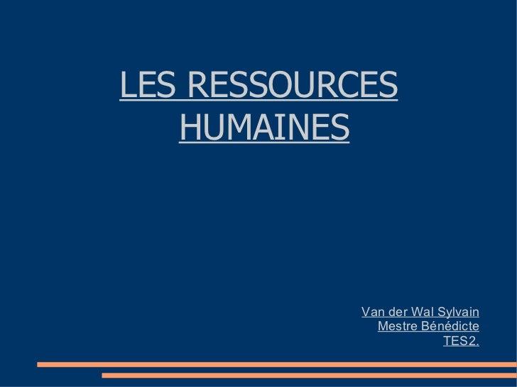 LES RESSOURCES HUMAINES Van der Wal Sylvain Mestre Bénédicte TES2.