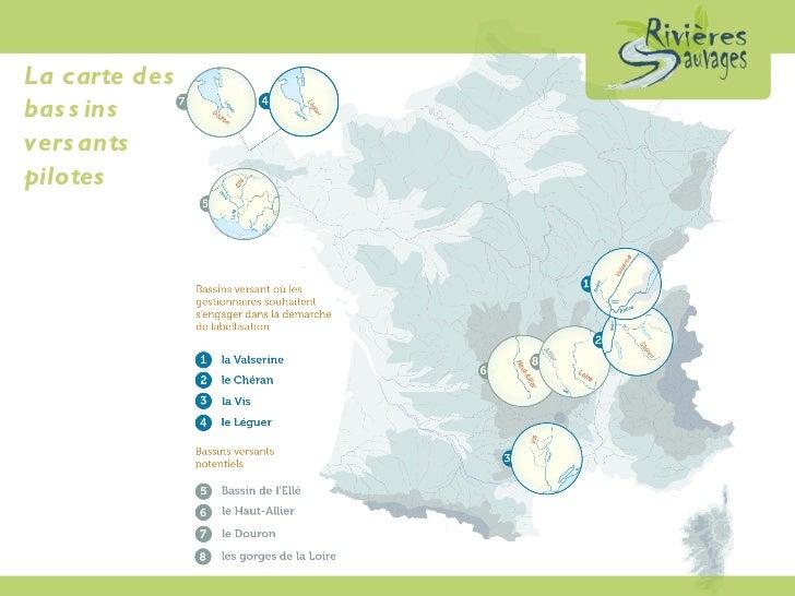 La carte des  bassins  versants  pilotes