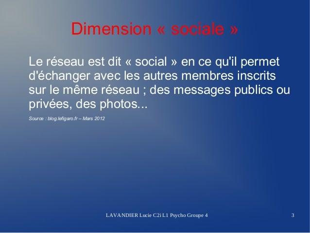 Dimension « sociale »Le réseau est dit « social » en ce quil permetdéchanger avec les autres membres inscritssur le même r...