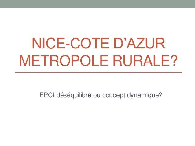 NICE-COTE D'AZUR METROPOLE RURALE? EPCI déséquilibré ou concept dynamique?