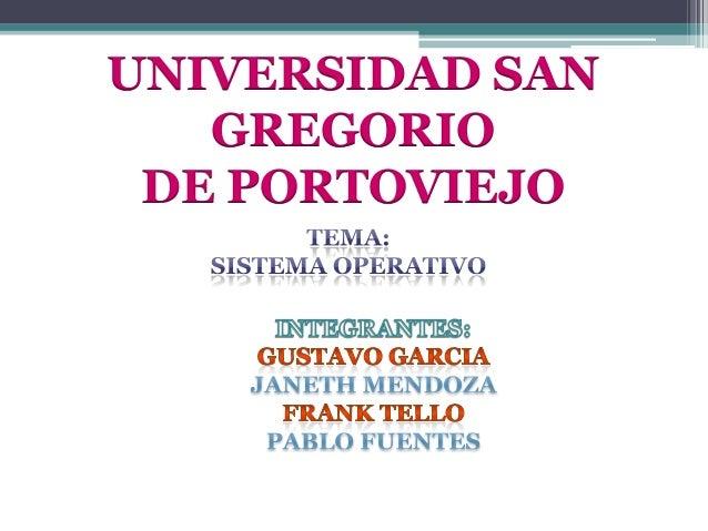 UNIVERSIDAD SAN GREGORIO DE PORTOVIEJO