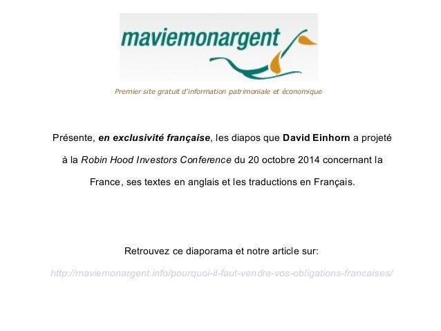 Premier site gratuit d'information patrimoniale et économique  Présente, en exclusivité française, les diapos que David Ei...