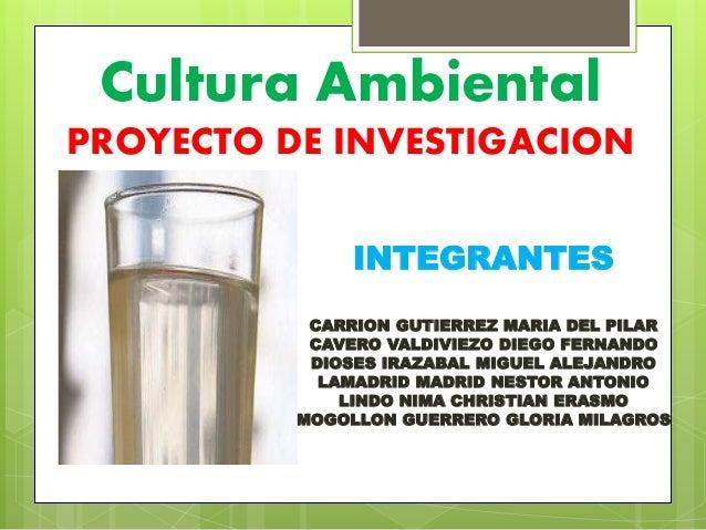 Cultura Ambiental  PROYECTO DE INVESTIGACION  INTEGRANTES  CARRION GUTIERREZ MARIA DEL PILAR  CAVERO VALDIVIEZO DIEGO FERN...
