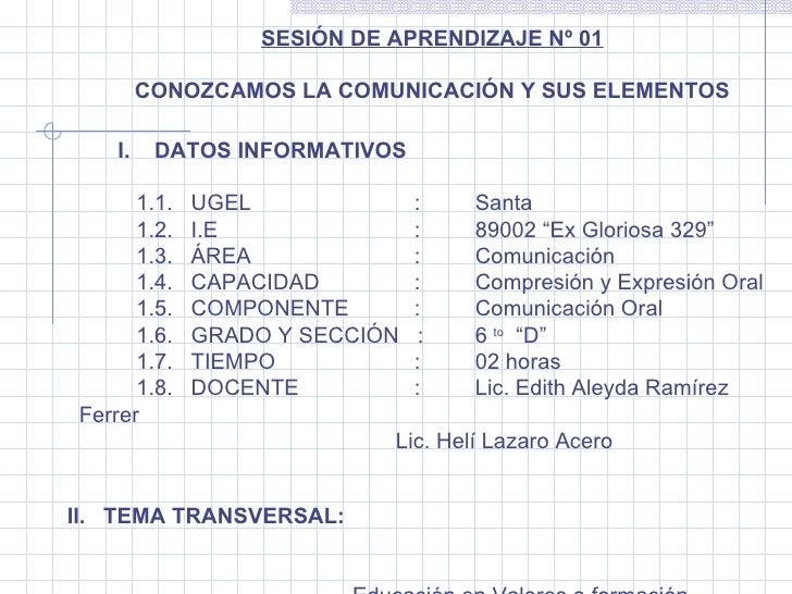 SESIÓN DE APRENDIZAJE Nº 01  CONOZCAMOS LA COMUNICACIÓN Y SUS ELEMENTOS I.DATOS INFORMATIVOS    1.1.   UGEL   : Sa...