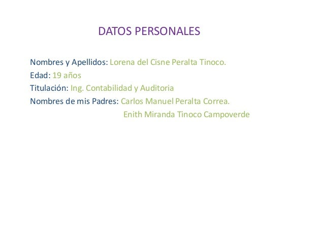 DATOS PERSONALES Nombres y Apellidos: Lorena del Cisne Peralta Tinoco. Edad: 19 años Titulación: Ing. Contabilidad y Audit...