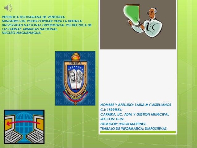 REPUBLICA BOLIVARIANA DE VENEZUELA. MINISTERIO DEL PODER POPULAR PARA LA DEFENSA. UNIVERSIDAD NACIONAL EXPERIMENTAL POLITE...