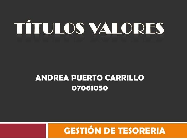 TÍTULOS VALORES<br />ANDREA PUERTO CARRILLO 07061050<br />GESTIÓN DE TESORERIA<br />