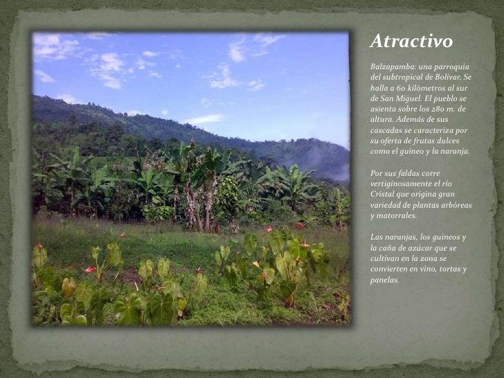 Atractivo<br /><br />Balzapamba: una parroquia del subtropical de Bolívar. Se halla a 60 kilómetros al sur de San Miguel...