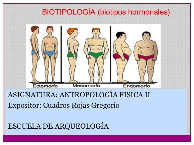 BIOTIPOLOGÍA (biotipos hormonales)  ASIGNATURA: ANTROPOLOGÍA FISICA II  Expositor: Cuadros Rojas Gregorio  ESCUELA DE ARQU...